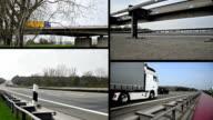 trucks on german autobahn/highway driving away video