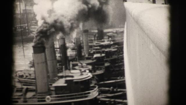 Tug Boats Docking RMS Aquitania in New York 1926 (HD1080) video