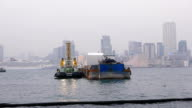 Tugboat and barge on calm waters of Victoria harbor in dusk video