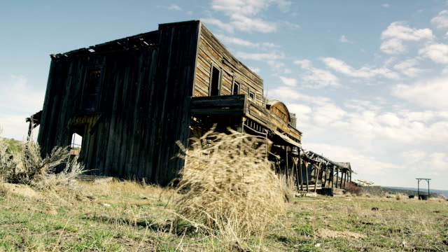 A Tumbleweed Blows Across An Old Spooky Ghost Town. video