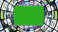 Tunnel Monitors with Green Screen Monitor video