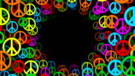 Tunnel of Multicolored Peace Symbols (Loopable) video