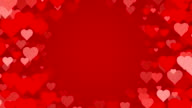 Tunnel of scrolling Hearts over Red Background (Loopable) video