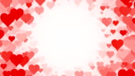 Tunnel of scrolling Hearts over White Background (Loopable) video