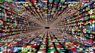 Tunnel of World Flags, loop, alpha video