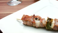 Turkey meat with vegetables on wooden sticks video