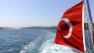 Turkish Flag of the ship in Istanbul video