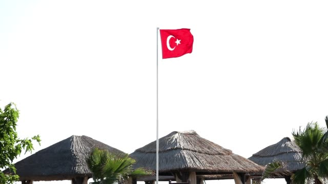 Turkish flag waving in blue sky, Flag of Turkey in the wind video