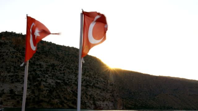 Turkish flags looking up with sun video