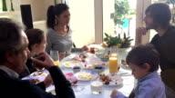 Turkish happy family doing breakfast video