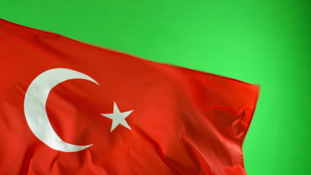 4K: Turkish Turkey Flag on green screen, Real video, not CGI video