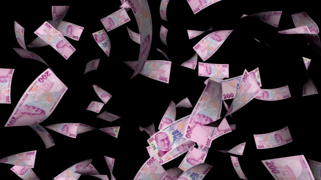 Turkish Two Hundreds Liras Bills Falling with Alpha Channel video