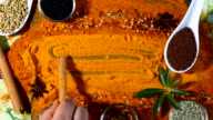 A Turmeric powder background with Indian spices video