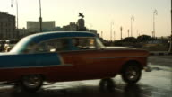 Turning classic cars on main street in Havana video