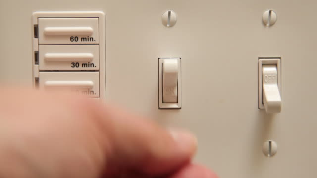 Turning on household lights, video sequence video