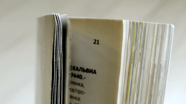 Turning pages of a magazine. Close up video