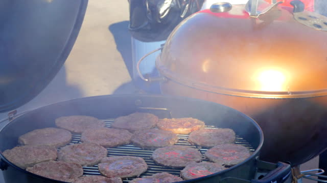 Turning the cutlets on the grill video