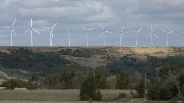 Turning Turbines on Renewable Energy Wind Farm in Wyoming video