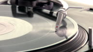 DJ Turntable. Close-up of a spinning vinyl record player. pan-shot from left to right and right to left. video