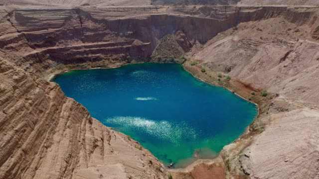 Turquoise lake in rocky basin video