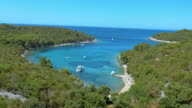 AERIAL Turquoise sea bay surrounded by Mediterranean forest video