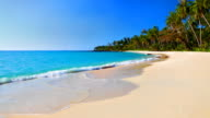 Turquoise sea water and blue sky on the tropical beach video