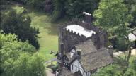 Turton Tower  - Aerial View - England,  Blackburn with Darwen,  helicopter filming,  aerial video,  cineflex,  establishing shot,  United Kingdom video