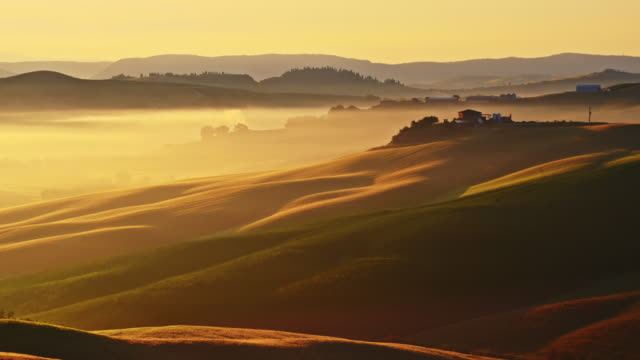 Tuscan countryside in mist video