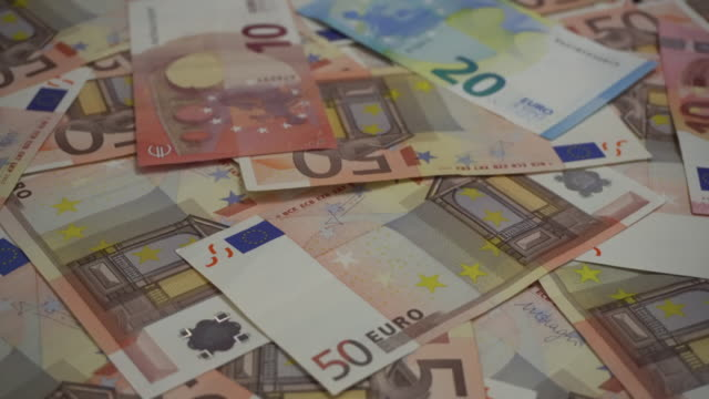 Twenty and Fifty Euro cash banknotes video