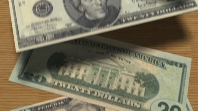 Twenty Bills Fall on Surface (3D Animation) video
