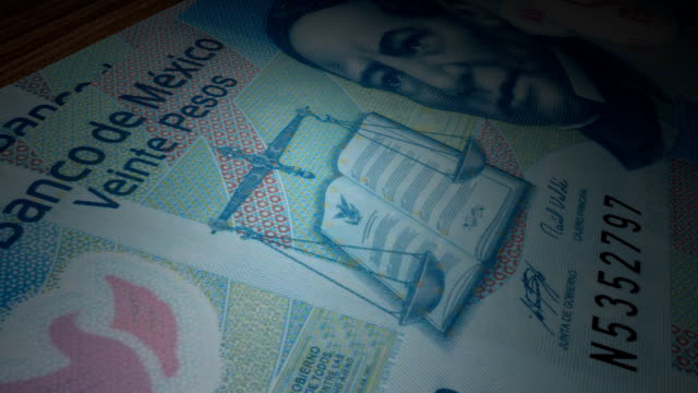 twenty mexican pesos bills rotating on the table - animation video