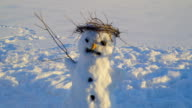 Twigs all over the head of the snowman video