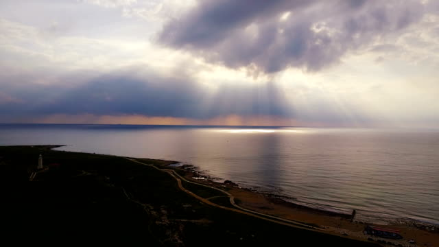Twilight over the coast and sea. Sunset. Landscape. Cyprus. Mediterranean Sea. Evening. West. Darkness. video