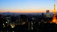 Twilight skies covering central Tokyo at Sunset. video