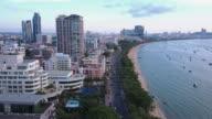 twilight Skyline of Pattaya from aerial view, Pattaya city, Chonburi, Thailand. video