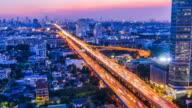 Twilight time on freeway, Bangkok Thailand. (Time lapse) video