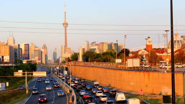 Twilight view by expressway of Toronto city center 4K video