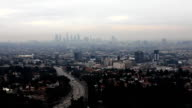Twilight view of the Los Angeles with a busy expressway video