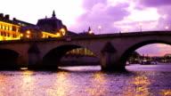 Twilight view of the Seine River in Paris video