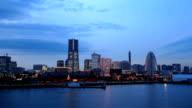 Twilight view of Yokohama bay in japan video