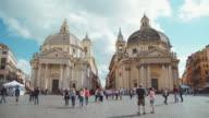 Twin churches at Piazza del Popolo in Rome video