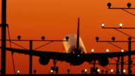 Twin Engine sunset Silhouette Landing with Audio video