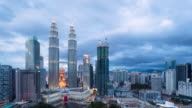 Twin Towers and KLCC park day to night video