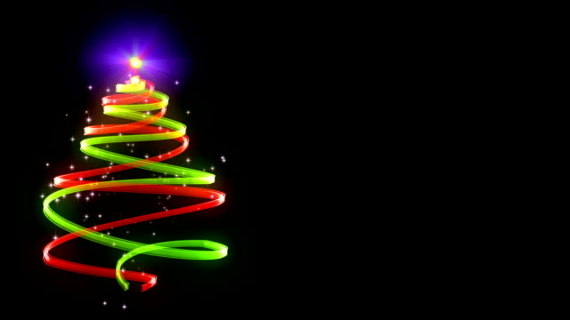 twinkling Christmas tree style ribbon animation video
