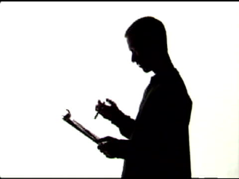 Twirling Pen with Clipboard in Silhouette video