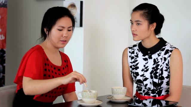 Two Asian Women Sharing Time Together In Cafe video