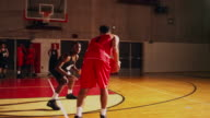 Two basketball players playing one on one while their teammates stand behind the lines video