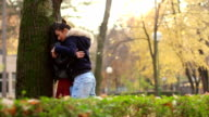 Two beautiful lesbians are hugging in the park next to the autumn tree video