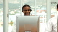 Two Beautiful Young Call Center Workers video