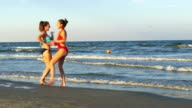 Two beautiful young women playing on the beach and dancing video